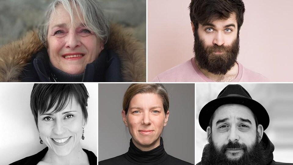 Montage des photos des 5 finalistes (de gauche à droite et de haut en bas : Diane Sancoucy, Éric LeBlanc, Shanti Van Dun, Julie Bouchard et Mathieu Blais)