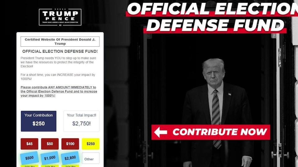 Image tirée du site web du président Donald Trump