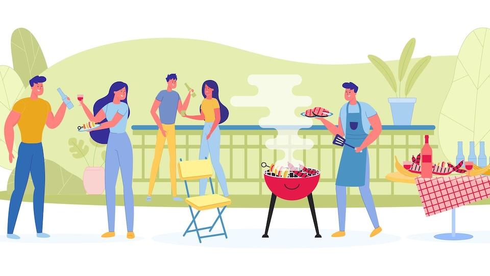 Se réunir à l'extérieur d'une maison en petit groupe pour un BBQ présente un faible risque de transmission.