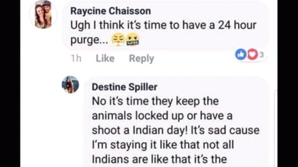 L'échange entre la Manitobaine Destine Spiller et quelques amis, dont la Saskatchewanaise Raycine Chaisson, sur sa page Facebook.