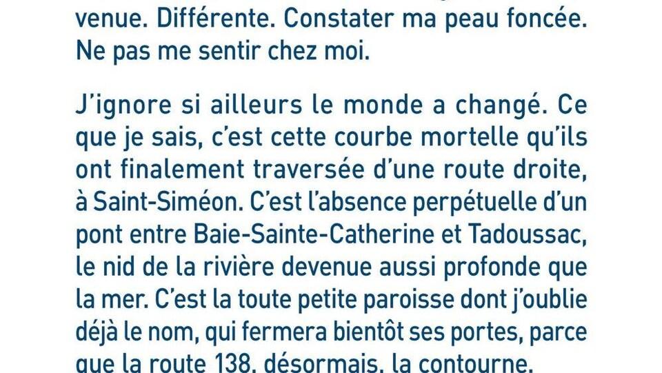 Cet extrait de <em>Manikanetish</em> de Naomi Fontaine apparaît dans les stations de RER à Paris jusqu'à la mi-octobre.