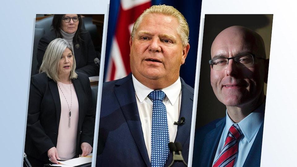 Montage de trois photos des politiciens Andrea Horwath, Doug Ford et Steven Del Duca.