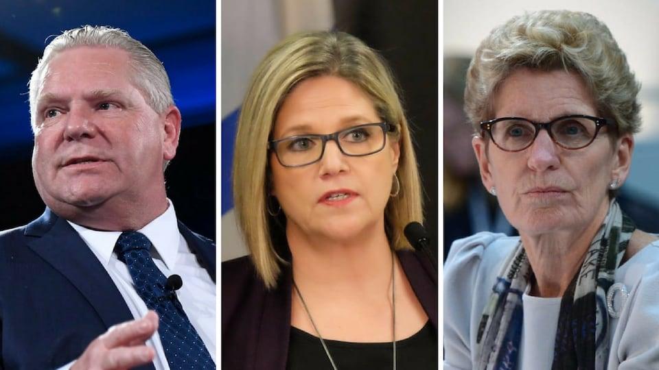 Photo des trois principaux candidats de la campagne.