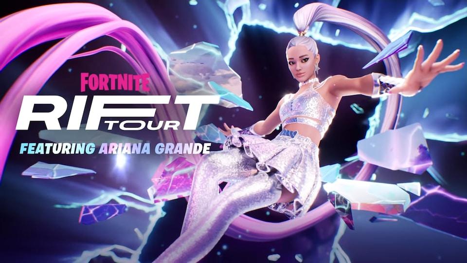 Image d'un personnage virtuel ayant l'apparence d'Ariana Grande, et portant une robe argentée scintillante.