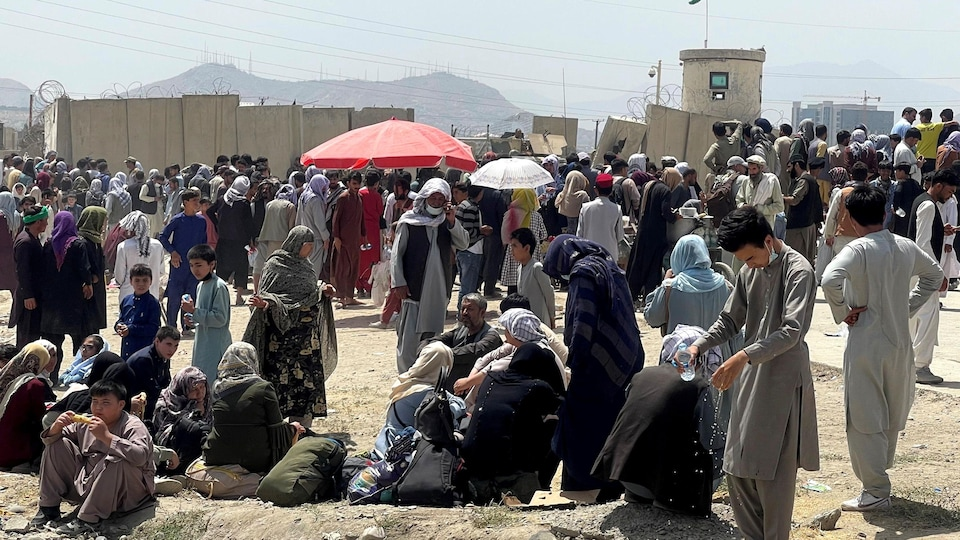 Crowds wait in front of concrete walls near Kabul airport.