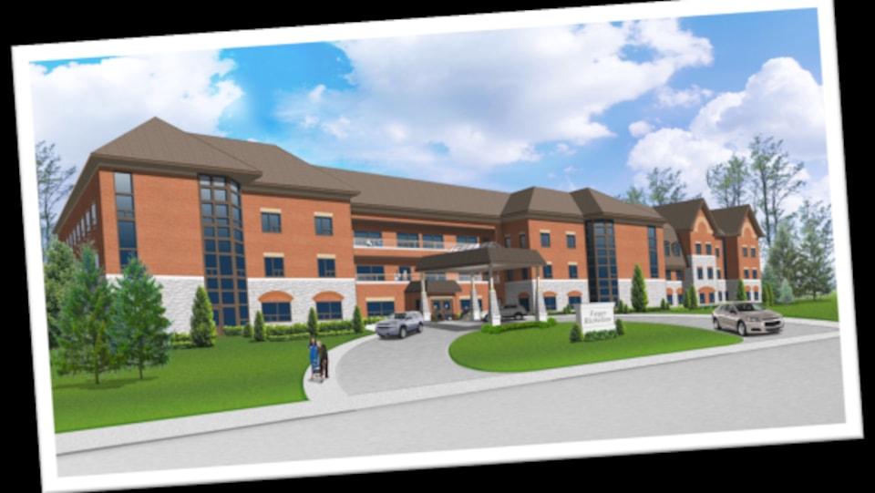 Sur cette photo,une représentation fictive d'un nouveau centre de soins de santé de longue durée.