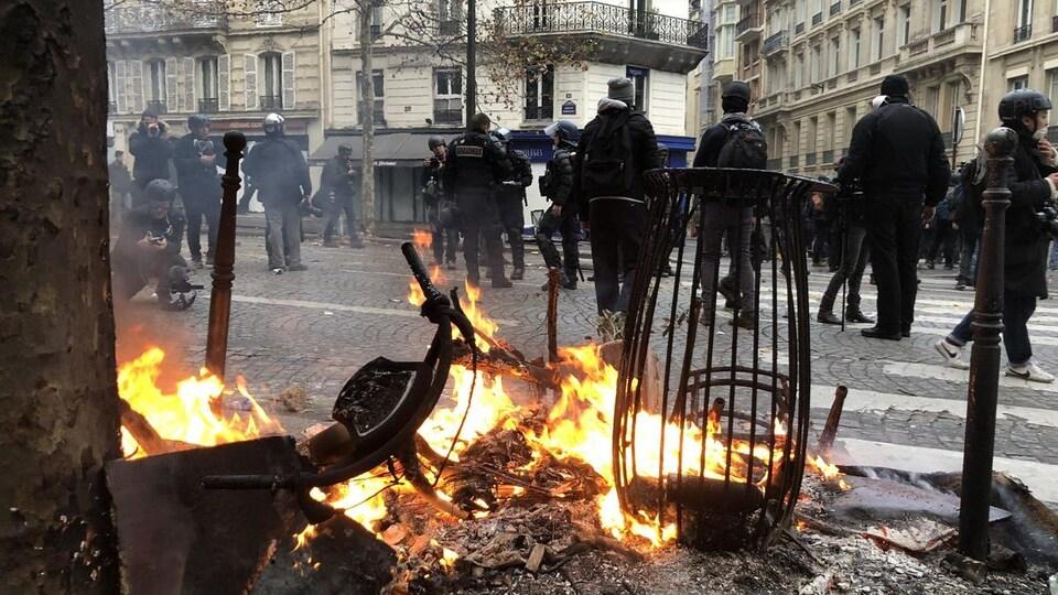 Un incendie a été allumé à proximité d'un arbre, dans une rue parisienne.