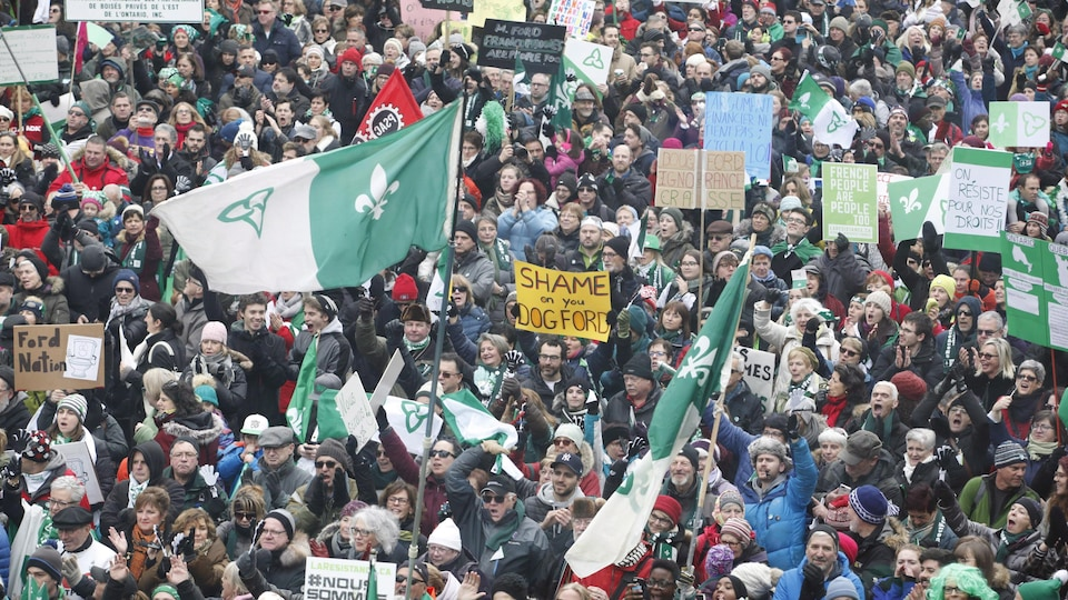 Franco-Ontarians protest cuts to French services by the Ontario government in Ottawa on Saturday, Dec. 1, 2018. THE CANADIAN PRESS/Patrick Doyle