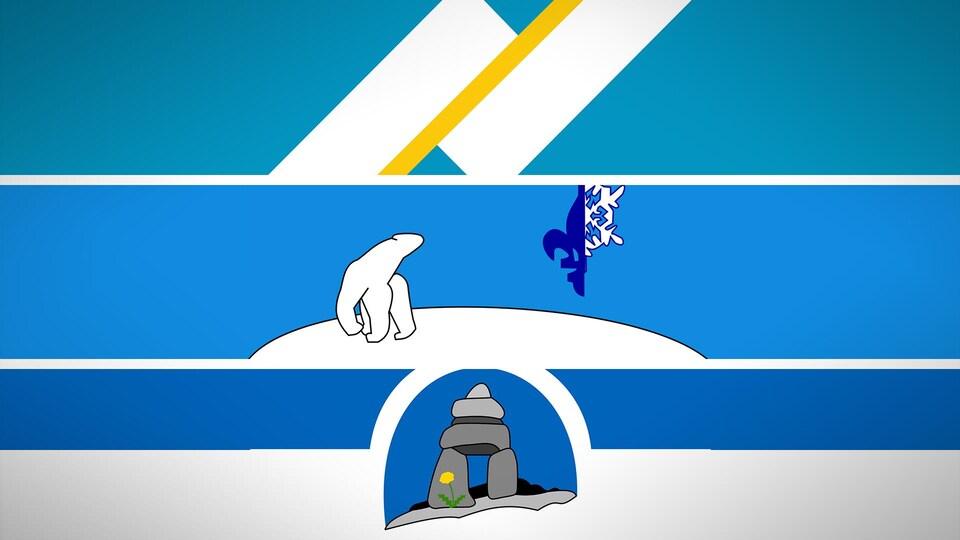 Les deux bandes du drapeau franco-yukonnais, au dessus, l'ours polaire du drapeau franco-ténois au centre, et l'inukshuk au bas de l'image.