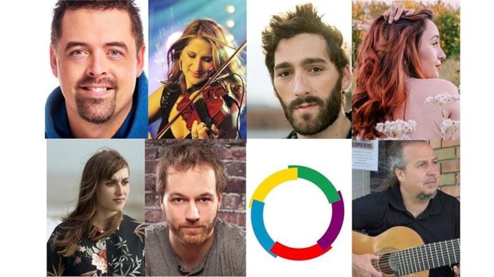 Visages des 7 artistes participants.