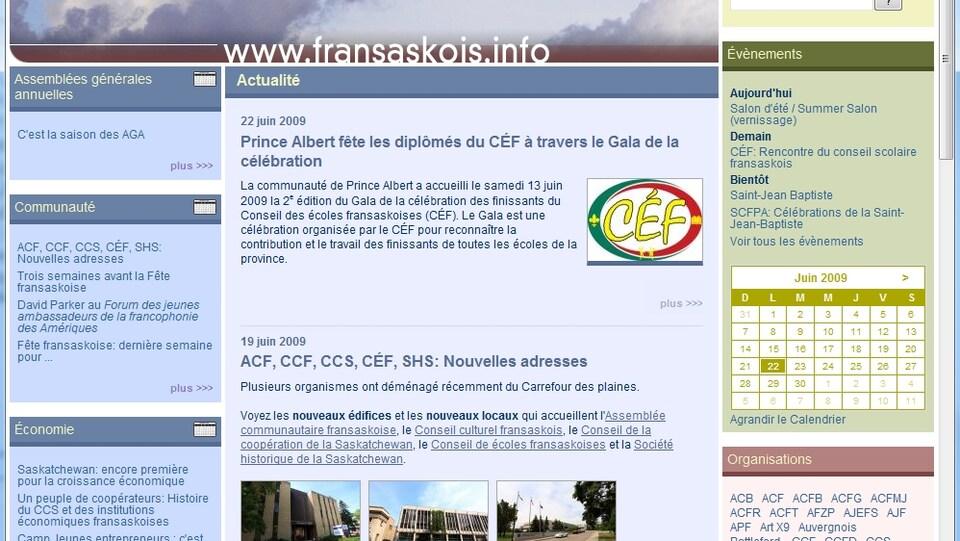 Le site web de fransaskois.info en 2009.