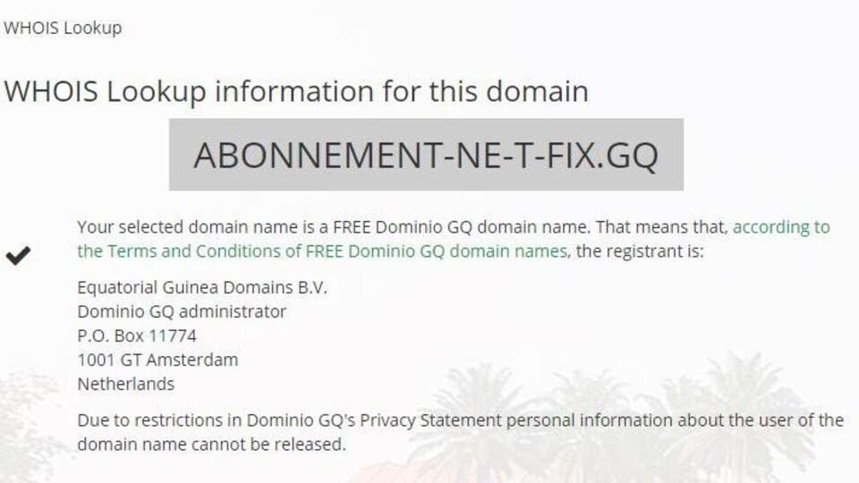 Capture d'écran d'un message indiquant que les informations personnelles concernant l'utilisateur du nom de domaine ne peuvent pas être dévoilées.