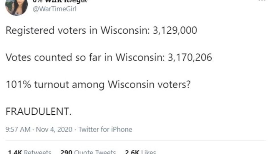 Capture d'écran d'un tweet de @WarTimeGirl relayant la fausse information.