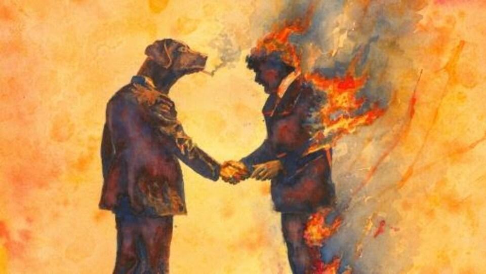 Un homme à la tête de chien serre la main d'un homme en feu.