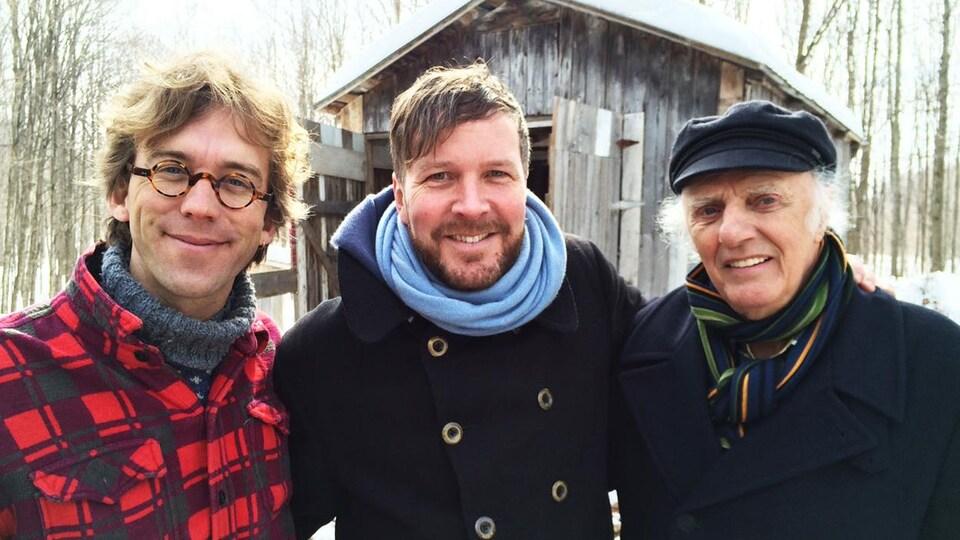 Fred Pellerin, Francis Legault et Gilles Vigneault lors du tournage du documentaire «Le goût d'un pays»