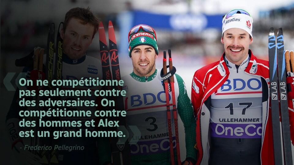 Citation  : «On ne compétitionne pas seulement contre des adversaires. On compétitionne contre des hommes et Alex est un grand homme.»