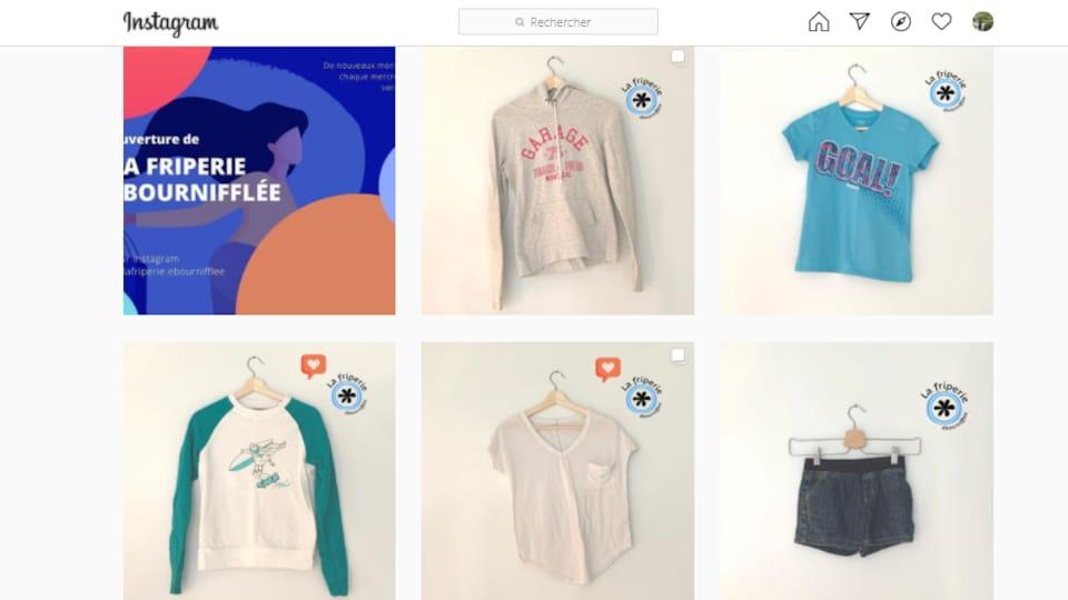 Des vêtements sont accrochés sur un cintre pour les présenter sur la page Instagram.