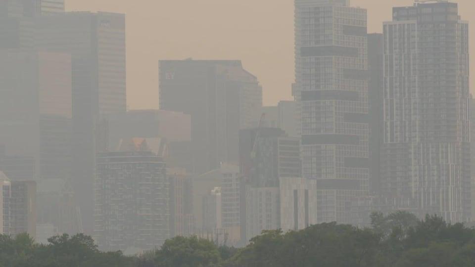 Le centre-ville de Toronto couvert d'une fumée jaune