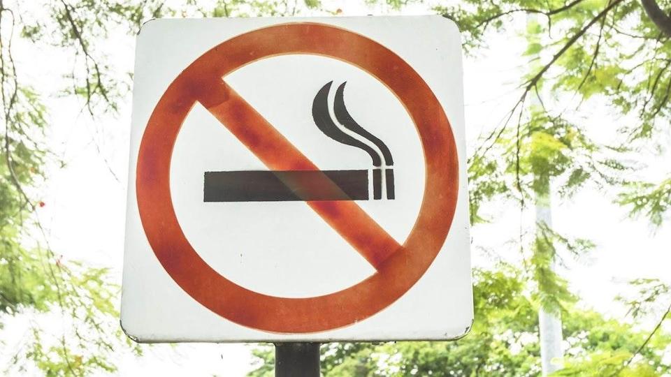 Un panneau d'interdiction de fumer dans un parc