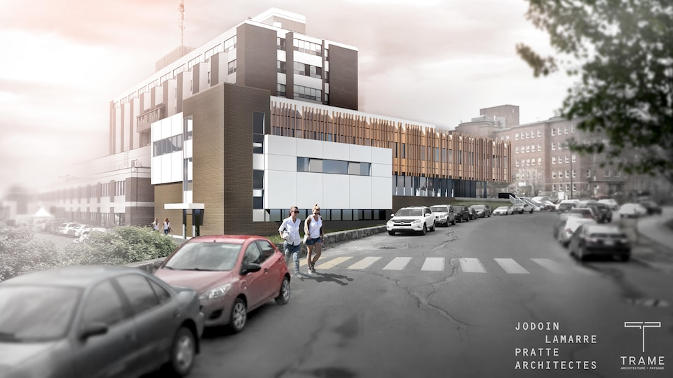 Un plan d'architecte montre l'agrandissement de l'hôpital de Rouyn-Noranda.