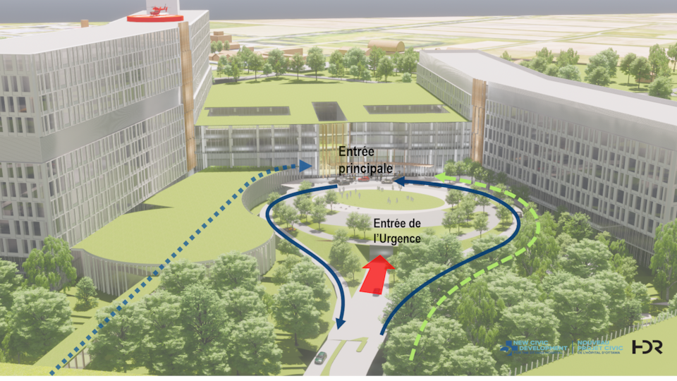 Une maquette en 3D d'un hôpital.