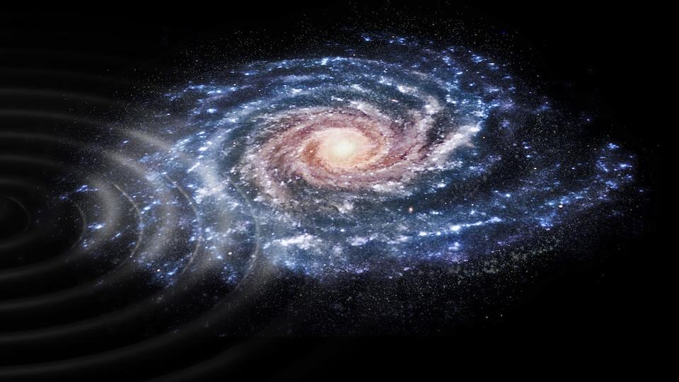 Représentation artistique des perturbations en forme d'ondes  qui ont frappé la Voie lactée