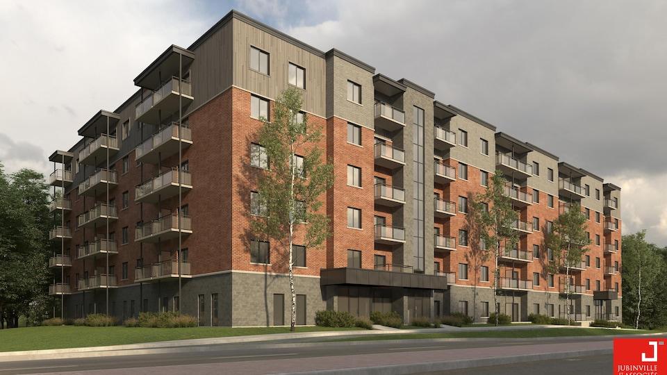 Image de la façade du nouveau projet de l'OMH, rue Galt Ouest, qui comprendra les 116 logements sociaux.