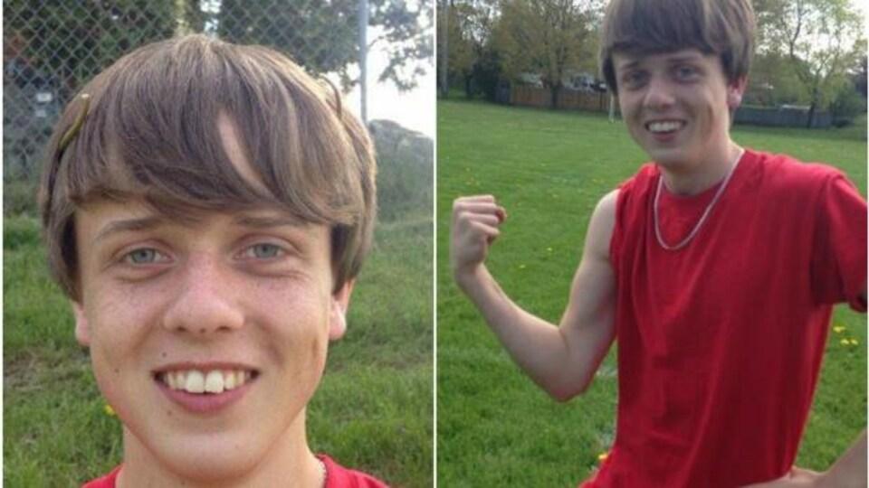 Le jeune Garret souris à la caméra dans une photo et montre ses muscles avec une manche de chandail relevée dans l'autre.