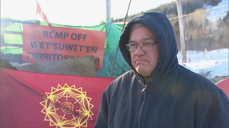 Gary Metallic au campement des Micmacs en soutien à Wet'suwet'en.