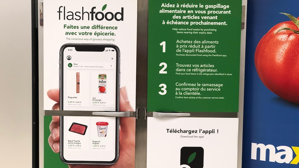 Une affiche illustrant l'application Flash Food et son mode d'emploi.
