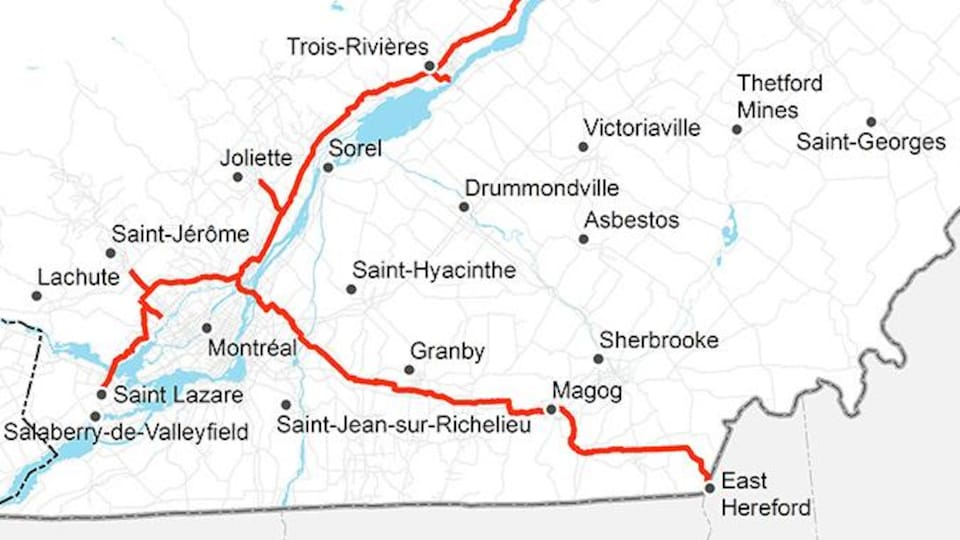 Une carte montrant le tracé du gazoduc Trans Québec Maritimes.