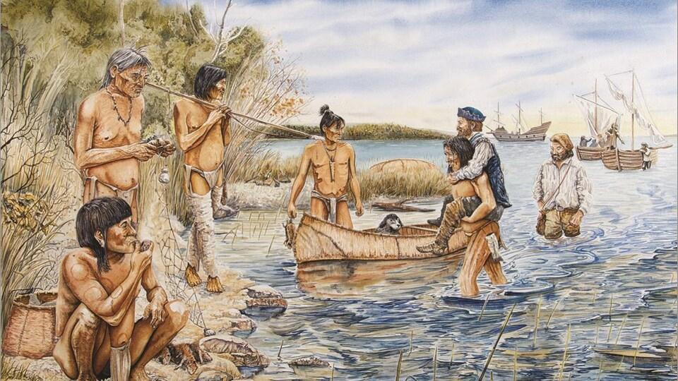 Un aquarelle illustrant l'arrivée de Jacques Cartier dans les îles de Sorel.