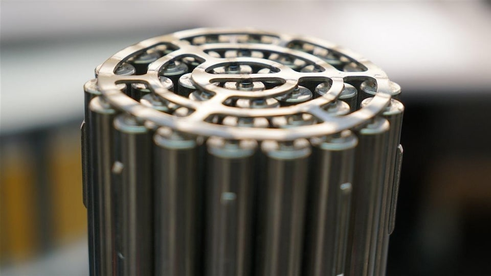 On voit le bout d'une grappe cylindrique, d'aspect métallique, placée à la verticale.
