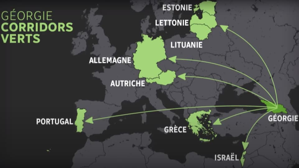 Carte montrant les corridors verts de la Géorgie.