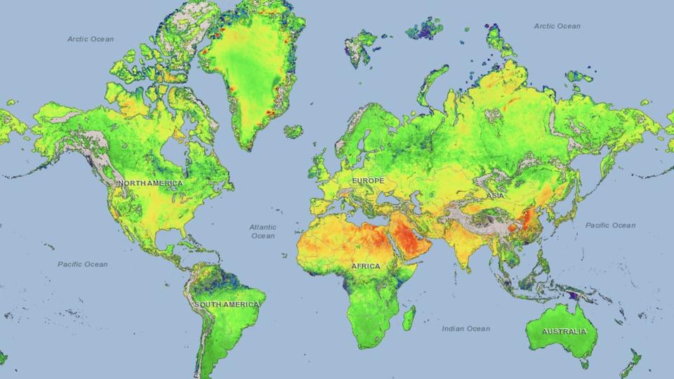 Carte du monde avec des couleurs montrant les variations dans les émission de méthane.