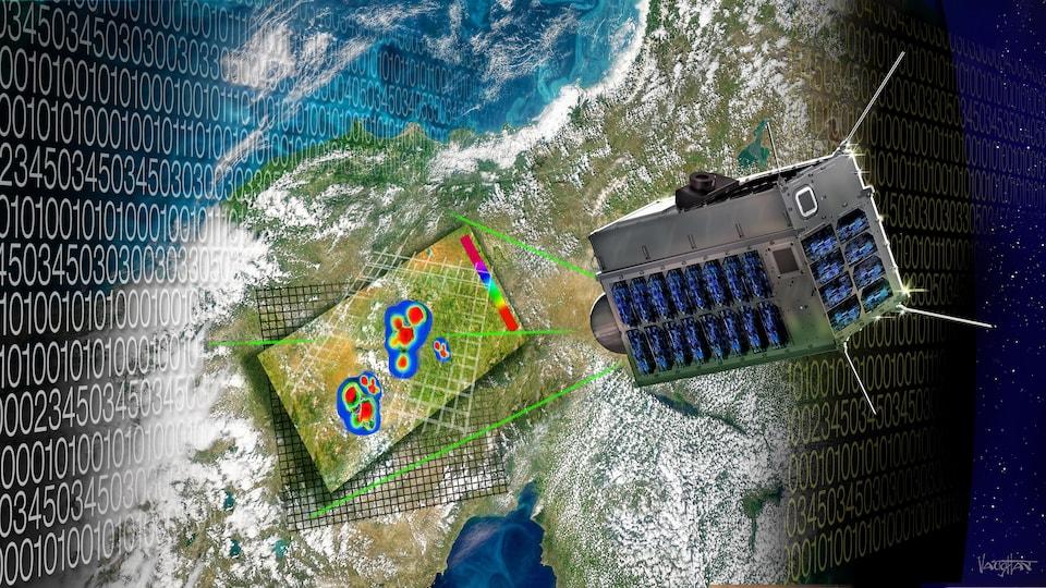 Une image représentant un appareil, dans l'espace, qui détecte les poches de méthane sur Terre, représentées par des taches colorées.