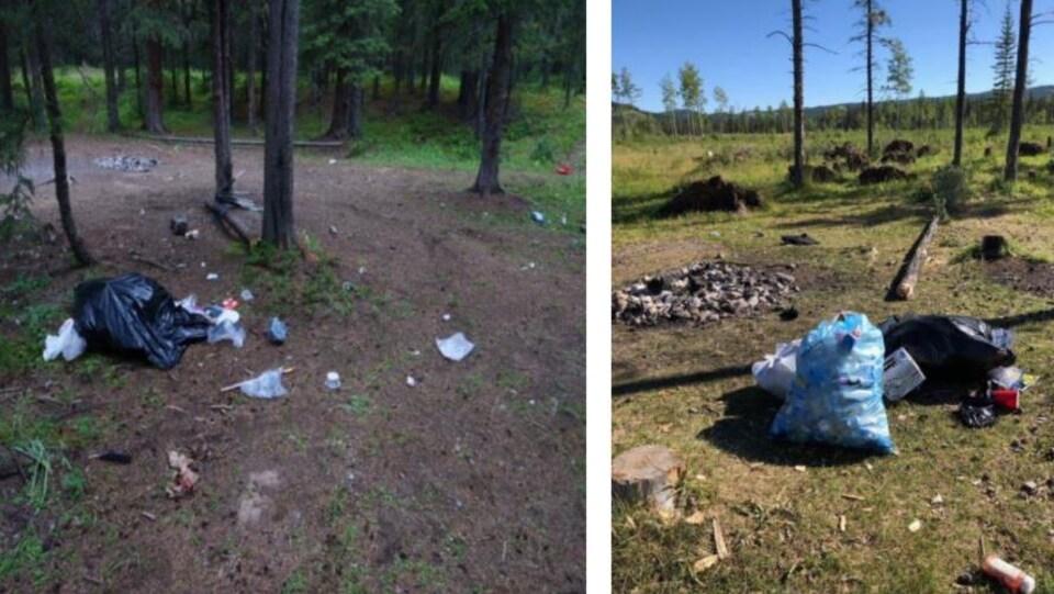 Des sacs de déchets et des détritus au sol laissés par des campeurs.