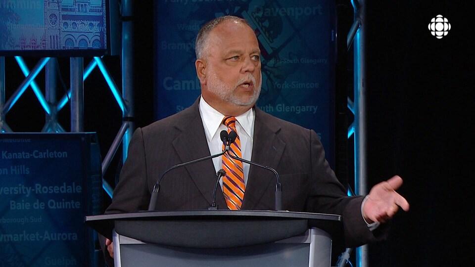 Gilles Bisson, candidat dans la circonscription de Timmins pour le Nouveau Parti démocratique de l'Ontario.