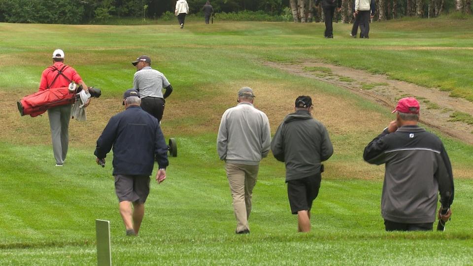 Quelques spectateurs suivent les joueurs sur un vert