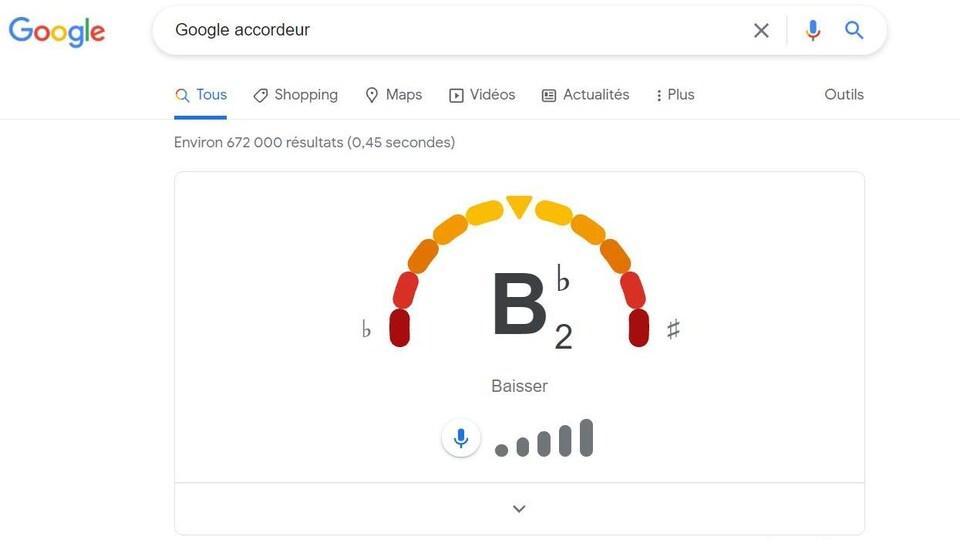 L'interface de l'application d'accordeur du moteur de recherche Google. Une échelle colorée indique si la note est plus haute ou plus basse que celle recherchée.