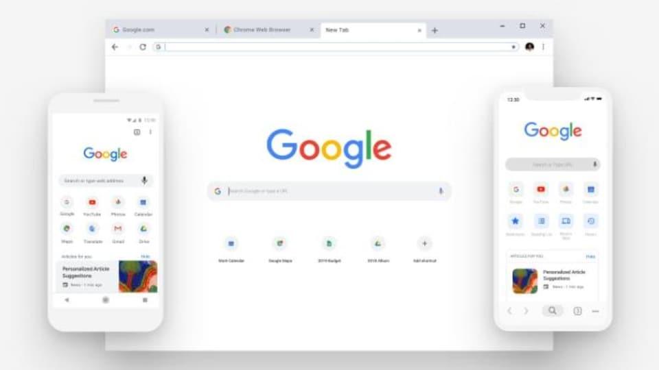 La page d'accueil du moteur de recherche Google sur un ordinateur, un iPhone et un téléphone Android.
