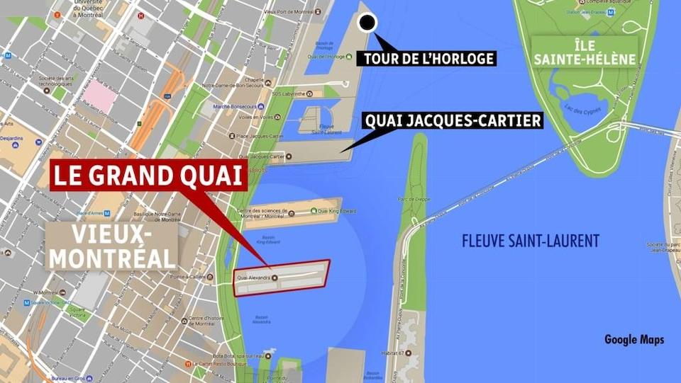 Une carte du Vieux-Port de Montréal.