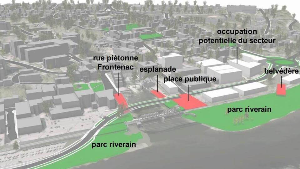 Un croquis des futurs aménagements prévus dans le secteur des Grandes-Fourches Nord, à Sherbrooke