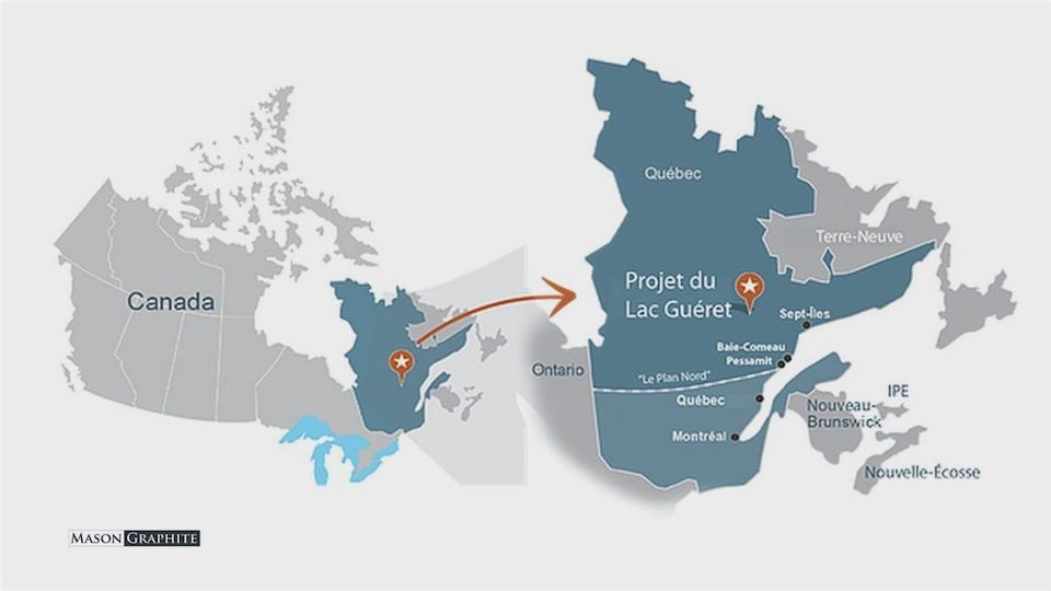 L'emplacement du Lac Guéret sur la carte (le projet d'exploitation de Mason Graphite).