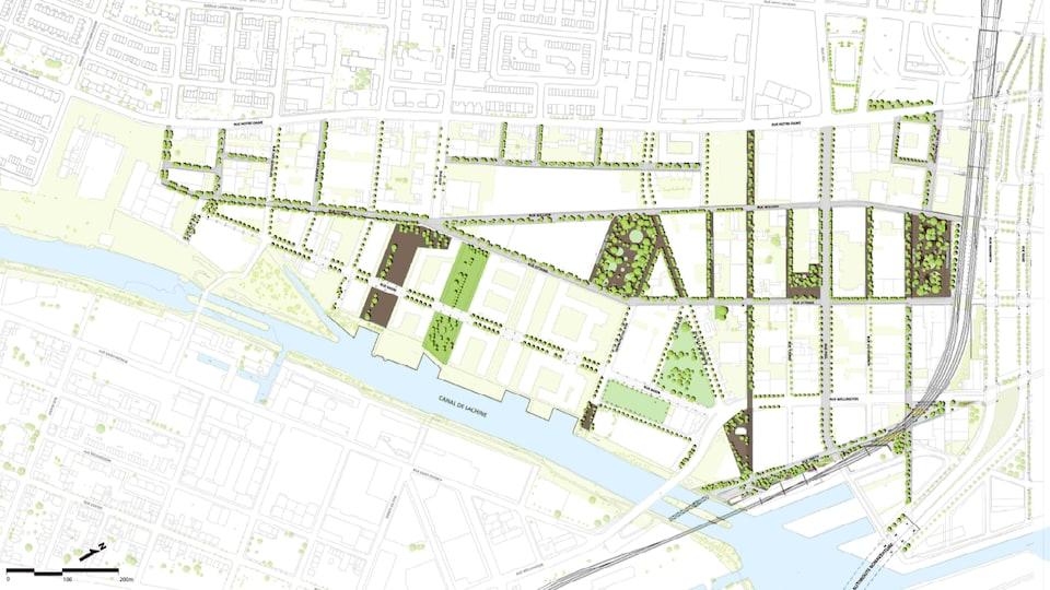 Carte des interventions planifiées sur le domaine public du secteur Griffintown, à Montréal.