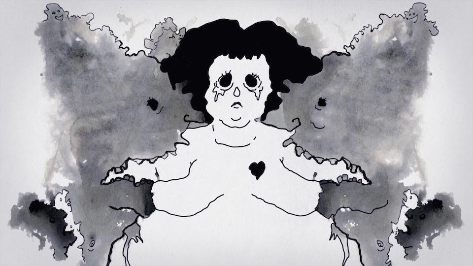 Dessin noir et blanc montrant une femme qui pleure.