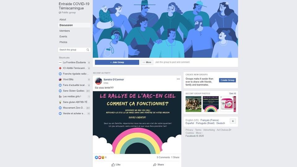 Une capture d'écran d'un groupe Facebook nommé Entraide COVID-19 Témiscamingue.