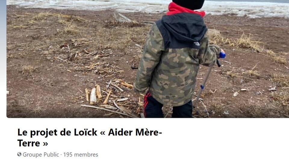 Une capture d'écran du groupe Facebook Le projet de Loïck « Aider Mère-Terre ».
