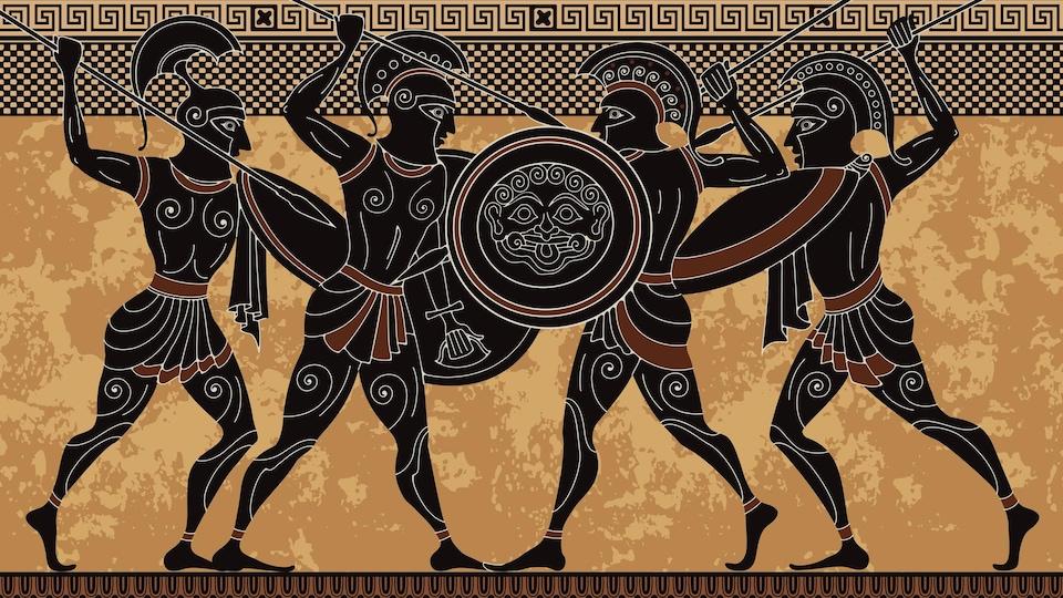 Guerriers de la Grèce antique, dessin sur poterie.