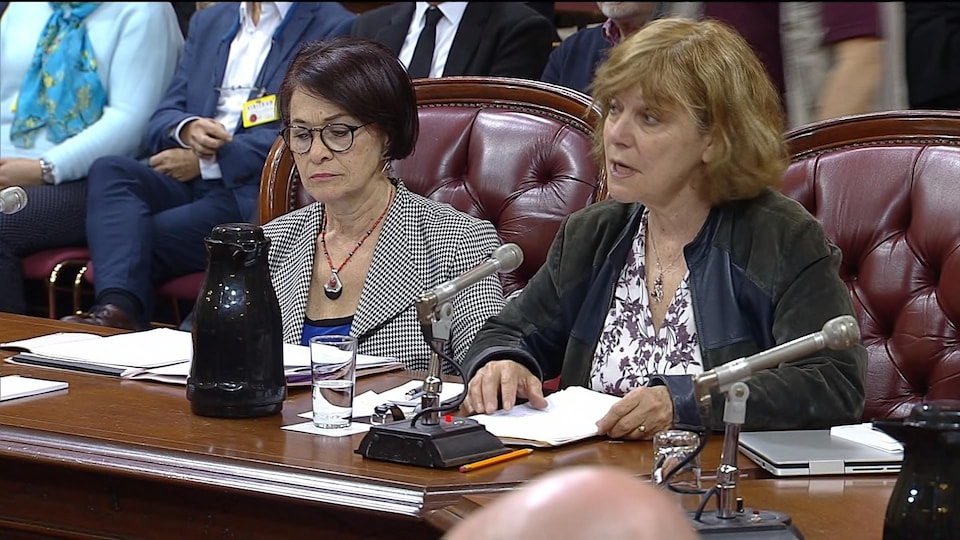 Leila Lesbet et Diane Guilbault, assises à une table, en commission parlementaire.